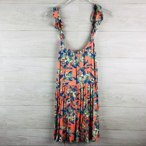 Free People Floral Print Dress with Pleated Skirt